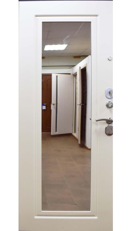 Кова белый шелк металлическая входная дверь Панель с зеркалом